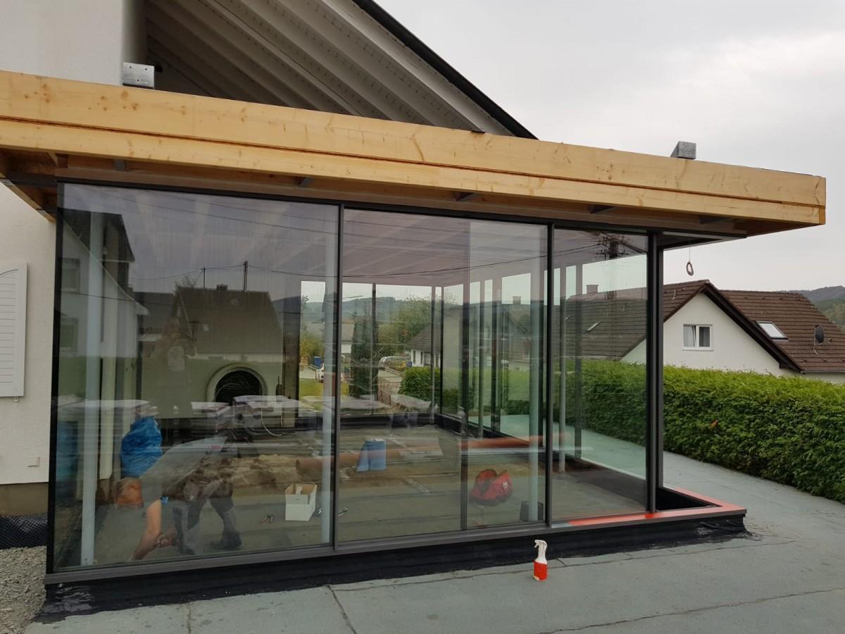 Anbau Wintergarten Mit Minimal Windows Schiebefenstern Metall Und Glas